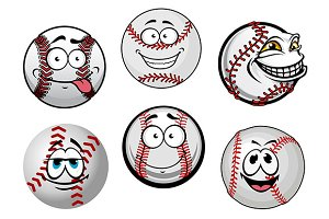 Smiling baseball balls cartoon chara