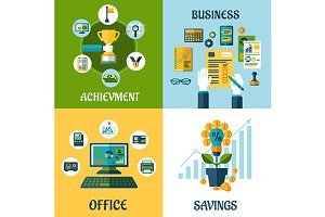 Flat business, office and success