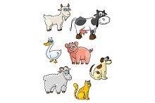 Cartoon cow, dog, sheep, pig, cat, g