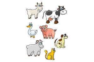 Cartoon cow, dog, sheep, pig, cat, g