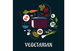 Cooking vegetarian dish flat infogra