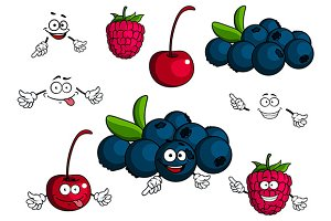 Cartoon cherry, raspberry, blueberri