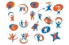 People silhouette icons or symbols