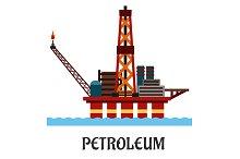 Flat oil offshore platform in the oc