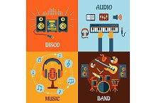 Music, audio, disco, band flat icons