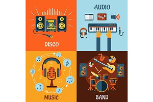 Music, audio, disco, band flat icons