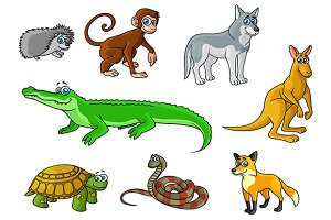 Cartoon forest and jungle wild anima