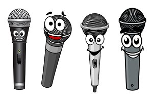 Cartoon happy wireless microphones c