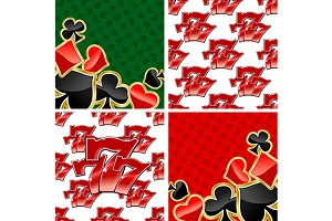 777 seamless patterns and card suits