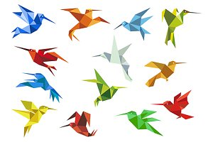 Abstract origami hummingbirds design