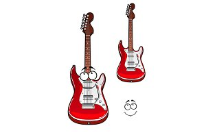 Cartoon smiling red electric guitar