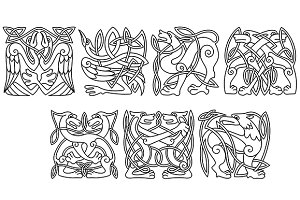 Abstract celtic animals and birds pa