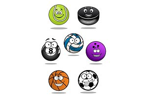Smiling sport cartoon balls and pack