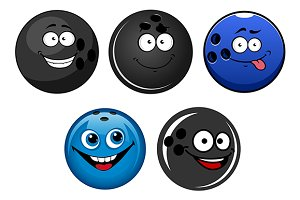 Blue and black bowling balls cartoon