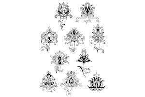 Ethnic paisley outline floral design