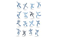 Silhouettes of dancing peoples