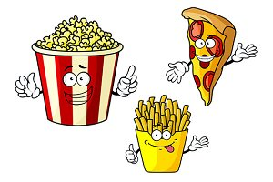 Pizza, french fries, popcorn cartoon