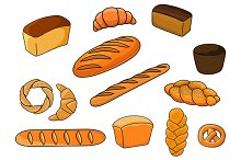 Breads and pastry in cartoon style