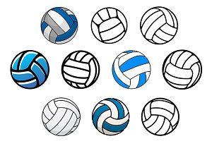 Volleyball balls in outline and cart