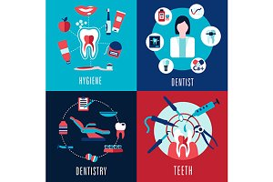 Medical flat dentistry icons