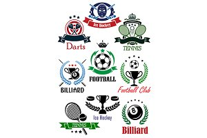 Football billiard dart hockey icons