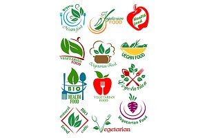 Vegetarian health food icons