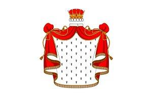 Royal red velvet mantle with golden