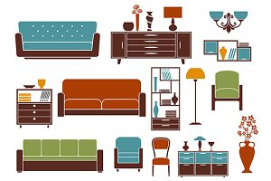 Flat furniture and interior elements