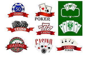 Casino and poker emblems or badges