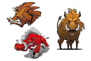 Cartoon wild boars with ruffled fur