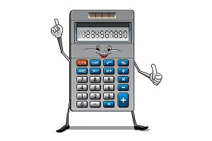 Solar powered calculator cartoon cha