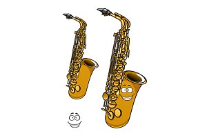 Shining brass saxophone cartoon char