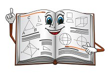 Open textbook with geometric shapes