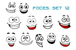 Emotions faces with happiness and fu