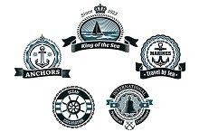 Retro blue nautical labels and badge