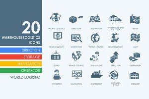 20 warehouse logistics icons