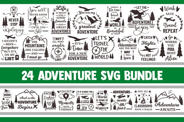 Adventure Svg Bundle Camping Vector Pre Designed Photoshop Graphics Creative Market