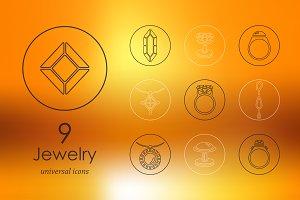 9 jewelry line icons