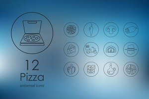 12 pizza line icons