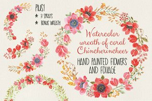 Watercolor wreath: Chincherinchees