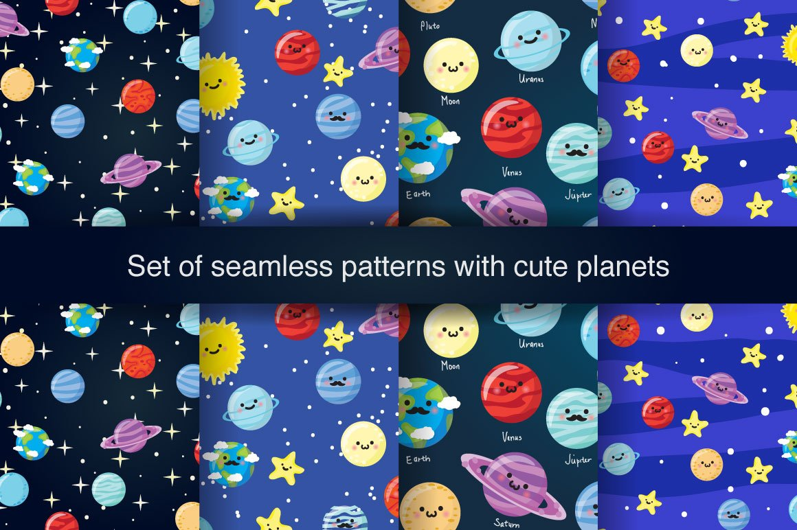 Cute space patterns patterns creative market for Outer space pattern