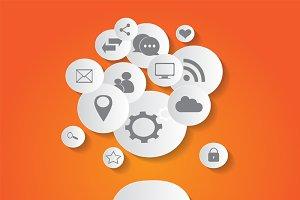flat social media icons orange