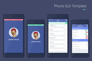 Phone GUI Template for PSD, AI, EPS.
