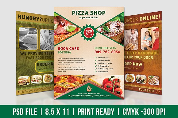 pizza shop flyer flyer templates creative market. Black Bedroom Furniture Sets. Home Design Ideas