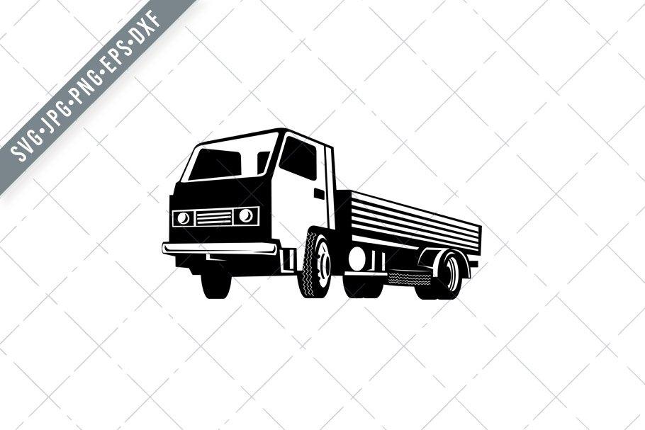 Lightweight Flatbed Truck Side Svg Pre Designed Illustrator Graphics Creative Market