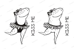 Linear dancing frog ballet dancer