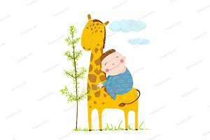 Little boy hugging a giraffe