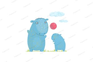 Hippopotamus kid playing ball