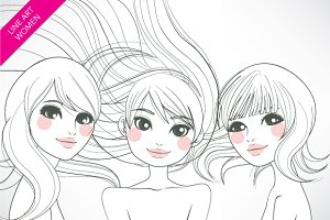 Women Line Art Illustration