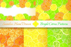 5 Juicy Citrus Seamless Patterns
